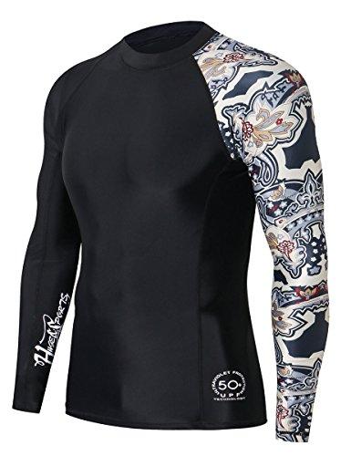 Upf Water - HUGE SPORTS Men's Splice UV Sun Protection UPF 50+ Skins Rash Guard Long Sleeves(Split, L)
