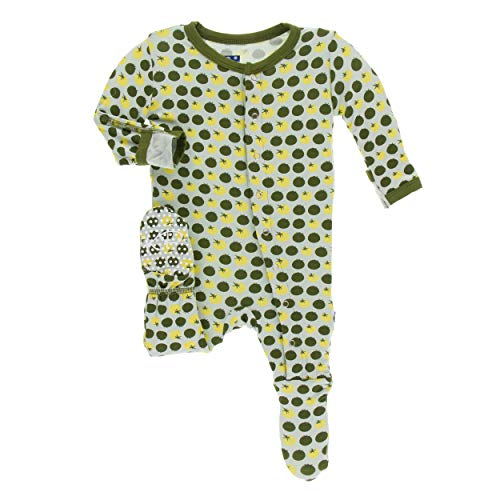 Kickee Pants Little Boys Print Footie with Snaps - Aloe Tomatoes, 3-6 Months (Tomato Print)