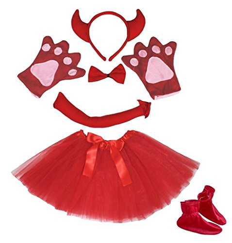 Shoes For A Devil Costume (Petitebella Headband Bowtie Tail Gloves Skirt Shoes 6pc Girl Costume (Red Devil))