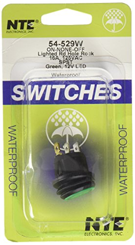 NTE Electronics 54-529W Waterproof Round Illuminated Rocker Switch, SPST Circuit, ON-None-Off Action, Nylon Green LED Actuator, 0.187 Quick Connect Terminals, 16 Amp, 125V