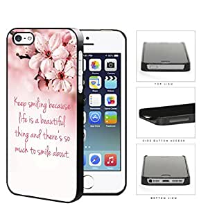 Keep Smiling Quote Cherry Blossom Hard Plastic Snap On Cell Phone Case Apple iPhone 5 5s