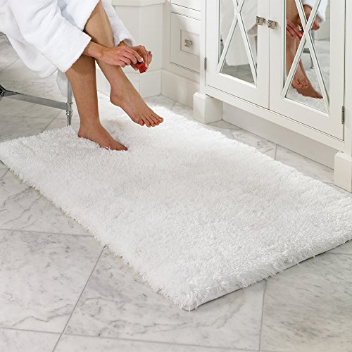 Luxury Carpet (LOCHAS Luxury Soft Bathroom Rug Non-skid Rubber Back Water Absorbable Bath Mat Decorative, 2.6 x 3.9ft /80 x 120cm, White)