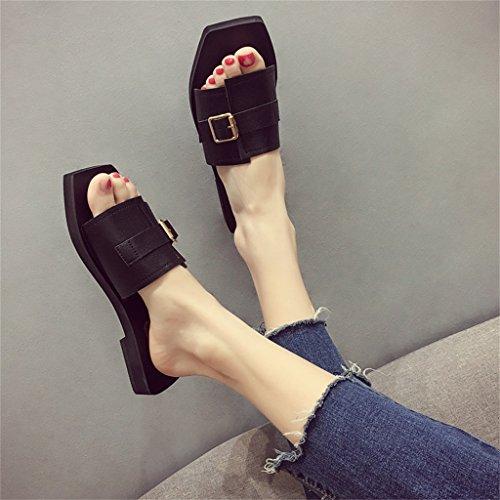 YAnFAn & Sandalias Sandalia Slip-On para Mujer Zapatillas De Deporte con Tacón Plano Elegante En Verano para Caminar Fiesta Zapatillas De Compras Negras con Correa De Hebilla (Tamaño : EU 40/US 8)