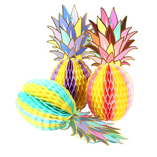 PAPER JAZZ multicolored paper pineapple honeycomb ball table centerpiece hanging decoration decor for summer Hawaiian laua tiki beach tropical fruit party (3 PINEAPPLE)