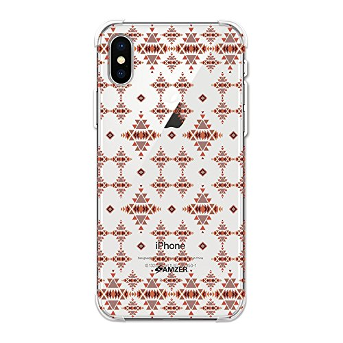Amzer Designer Slim TPU X Protection Soft Gel Case Protective Back Cover Skin for Apple iPhone Xs Max, Tribal Tessellations - Burnt Red/Clear -