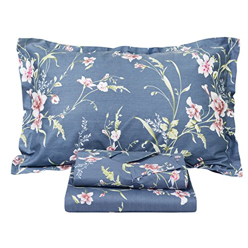 FADFAY Vintage Floral Bed Sheet Set Shabby Dusty Navy Blue Cotton Deep Pocket Sheets 4-Piece Queen - Bed Vintage Sheets Queen