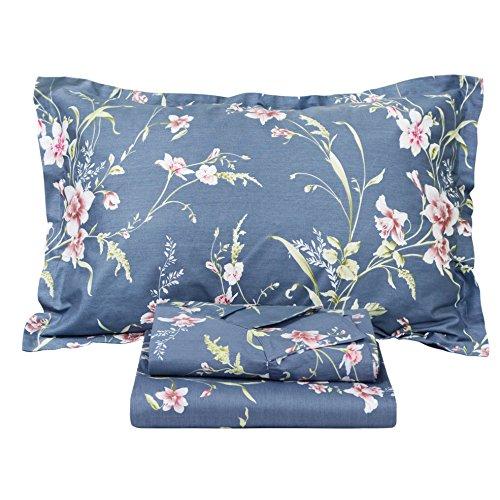Floral Vintage Sheet Set - FADFAY Vintage Floral Bed Sheet Set Shabby Dusty Navy Blue Cotton Deep Pocket Sheets 4-Piece King Size