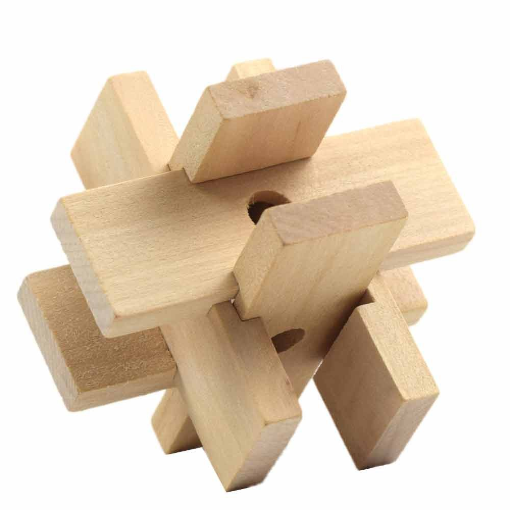 Ghazzi New 3D Wooden Toys IQ Brain Teaser Adults Kids Developmental Intelligence Toy for Kids Puzzle Educational Learning Toy Growing Experiment Gift Toy Pretend Toy Toddlers Toy (F)