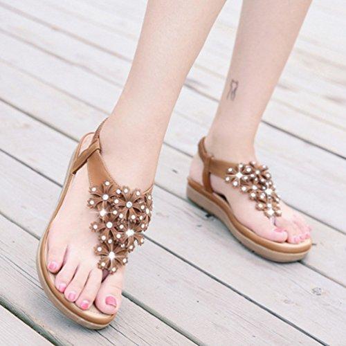 Mode Sandale Plateformes Toe Femmes Clip de Plage Marron Strass Talons Chaussures Sandales Antidérapantes 41 35 EwxUtY8x