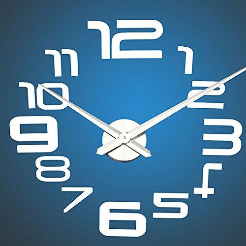 Amazon.com: BML 3D Large Sliver Modern DIY Home Decor Mirror Wall Clock Sticker//Gran astilla 3d pegatina reloj moderno espejo de pared decoración para el ...