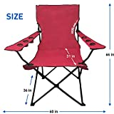 EasyGoProducts Giant Oversized Big Portable Folding Camping Beach Outdoor Chair with 6 Cup Holders Fold Compact into Carry Bag, Red