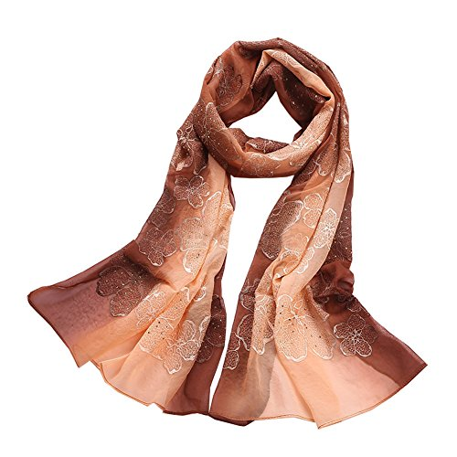 Beaded Embroidered Shawl Scarf Wrap (QYQS Women's 100% Silk Gradient Color Embroidered and beaded Scarf Wrap Shawl)