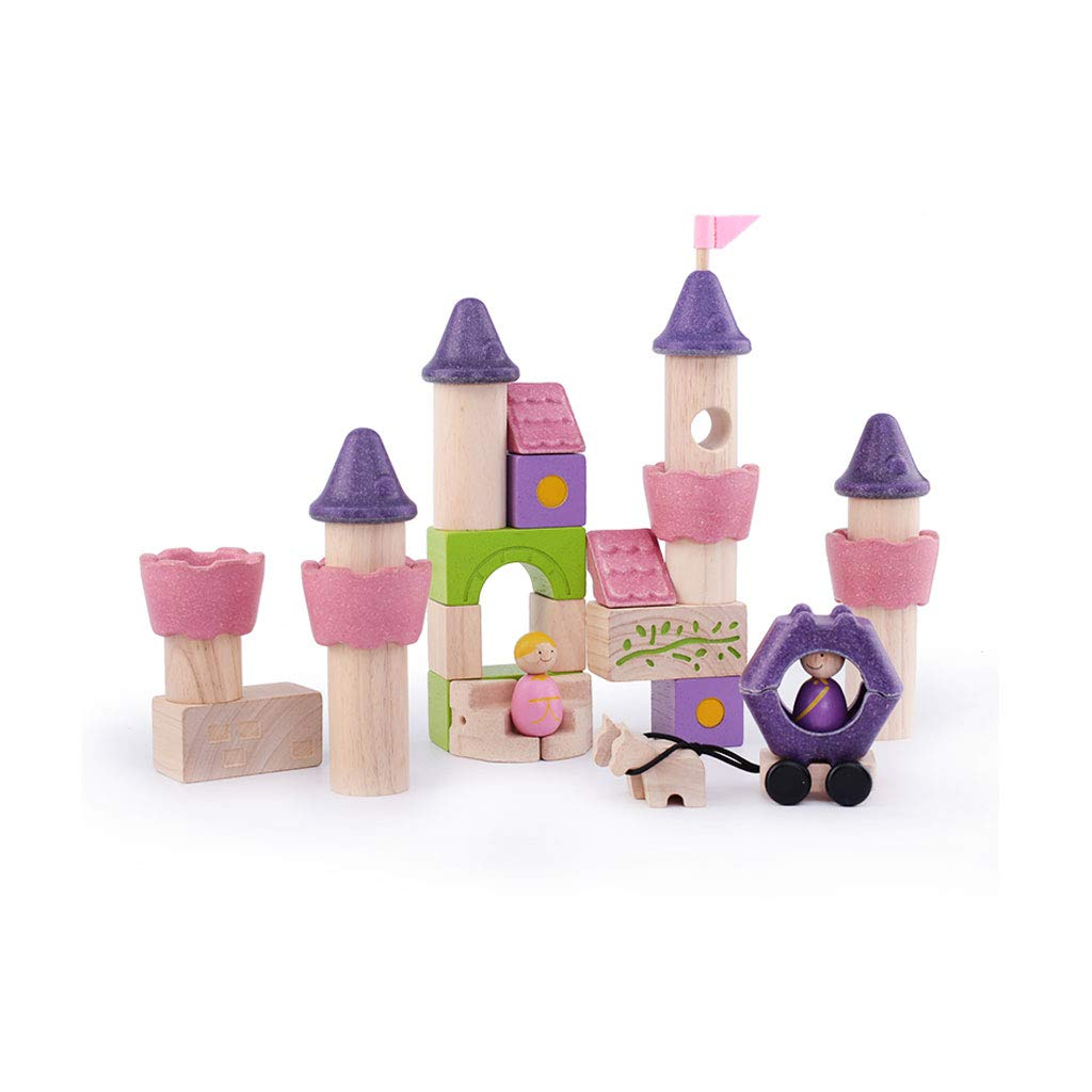 HXGL-Toys Wooden Toy Fairy Tale Castle Children's Gift Early Education Puzzle 3-6 Prince Princess (Color : Pink)