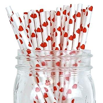 Rojo/Blanco Corazón Set de 100 Count Tamaño 7 3/4 (diseño de rayas papel pajita de incienso palos para Cake Pop moldes ...