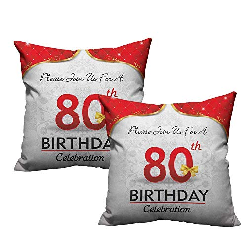 RuppertTextile Personalized Pillowcase 80th Birthday Birthday Party Invitation with Abstract Floral Backdrop Elderly Soft and Durable W24 xL24 2 -
