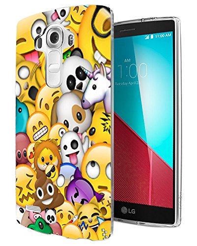 002756 - Emoji Collage Bomb Panda Unicorn Poop Lion Design LG G3 Fashion Trend CASE Gel Rubber Silicone All Edges Protection Case Cover