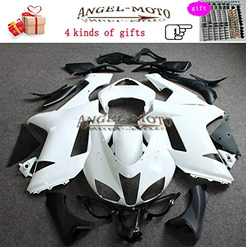 Angel-moto ABS Plastic Injection Molding Kit Fit for Kawasaki ZX6R (2007 2008) ZX636 Ninja ZX 6R (07-08) Motorcycle Body Fairing Unpainted - Plastic Molding Abs