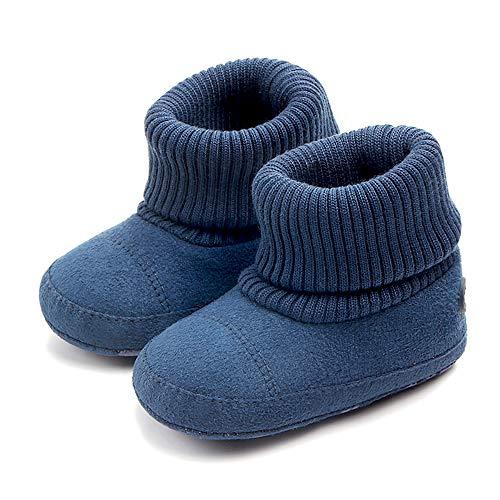 SCOWAY Baby Boys Girls Fleece Non-Skid Booties Newborn Infant Soft Warm Crib Shoes Winter Snow Boots Blue Bear L