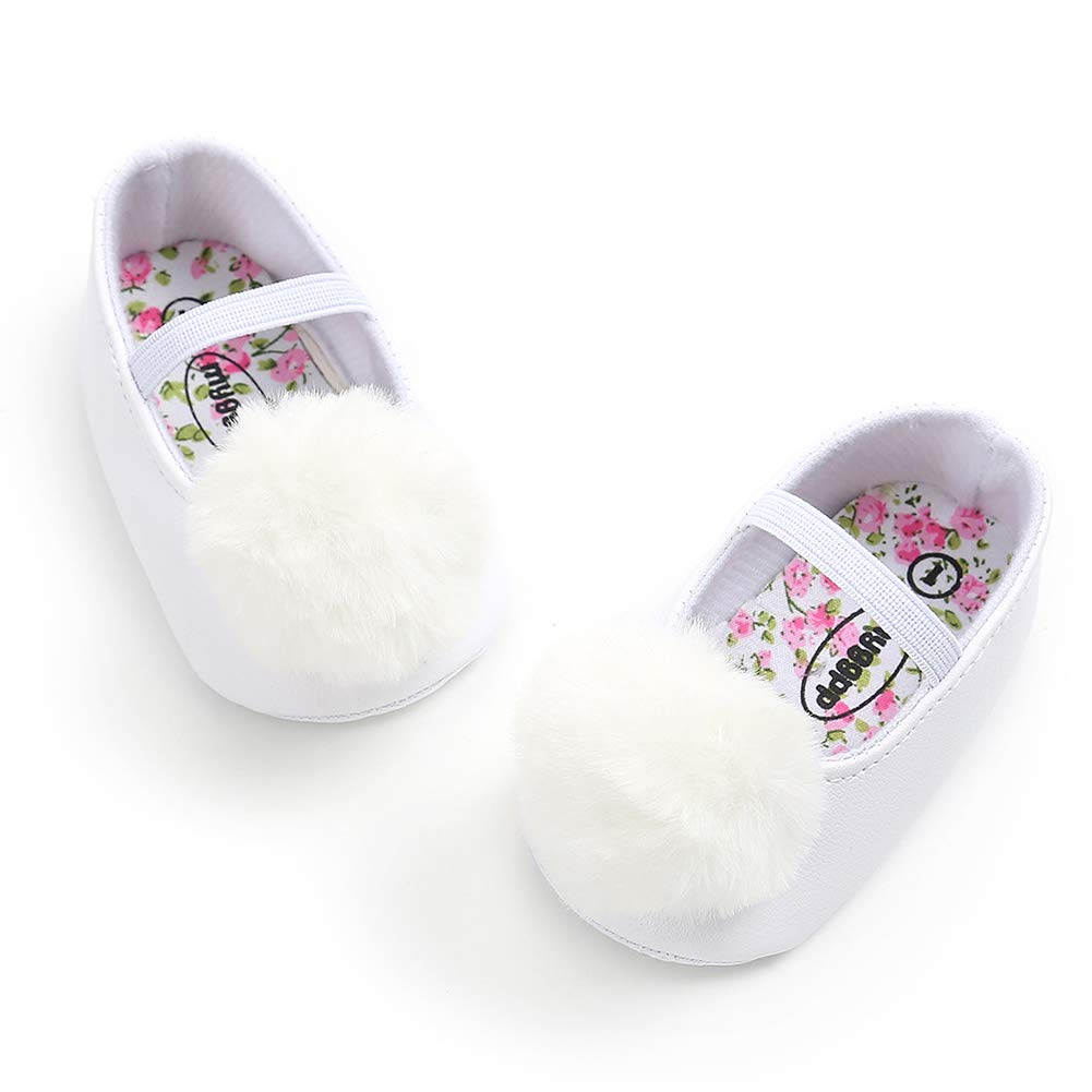 Alamana Fashion Lovely Pompom Infant Baby Girl Soft Sole Prewalker Toddler Shoes Gift Purple 12cm