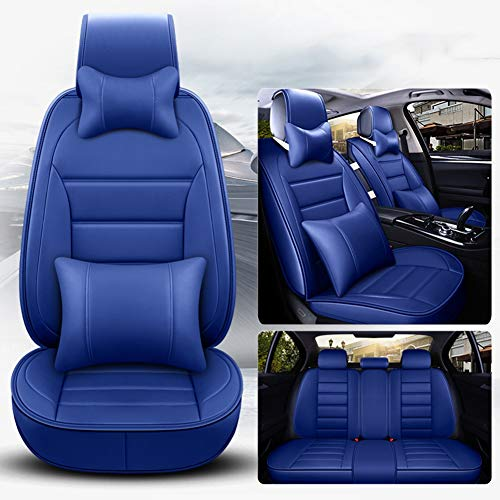 Leather Five-Seater Car Seat Cover-Waterproof PU Leather Cushion Anti-Slip Suede Backing-Universal Fit for Both Fabric And Leather Seats Easy To Clean,Blue: