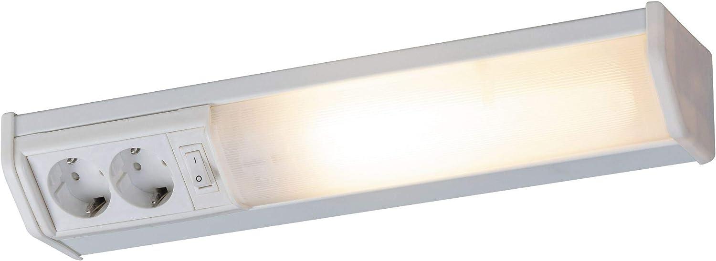Hi Lite LED Unterbauleuchte 89cm Silber 18W Neutralweiß Schalter Doppelsteckdose