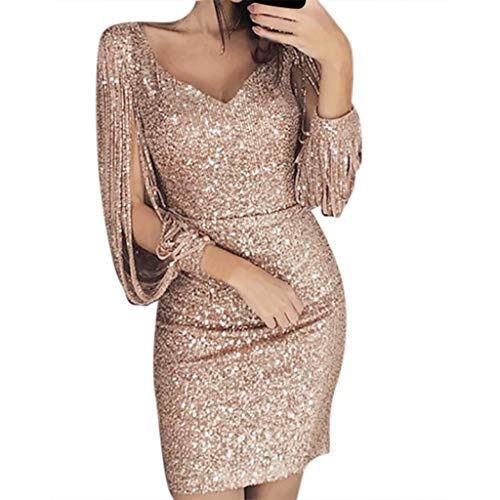 iHPH7 Dress Elegant V Neck Party Sexy Solid Sequined Stitching Shining Club Sheath Long Sleeved Mini Dress Women (XL,1- Khaki)