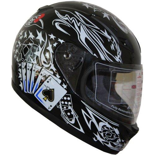 Adult Full Face Sports Motorcycle Helmet DOT 177 Black Large
