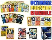Ultimate Pokemon Cards Bundle - 60+ Cards= 50 Cards Plus 5 foil Cards, 5 Rare Cards, 2 Holo Rare Cards (100 HP