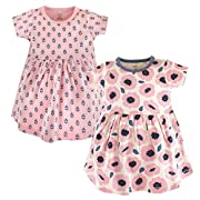 Touched by Nature Baby Girls 2-Pack Organic Cotton Dress, Blossoms, 0-3 Months