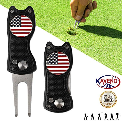 kaveno Golf Divot Tool, Foldable Magnetic Stainless Steel Switchblade with USA Golf Ball Marker (Black)