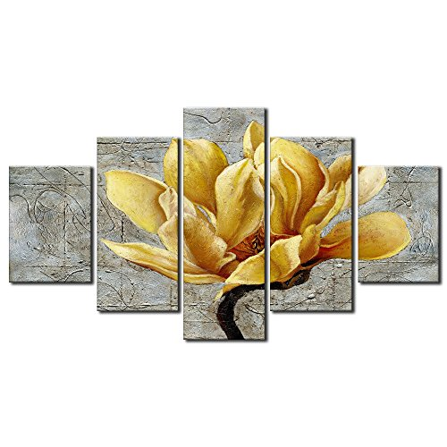 Large Yellow and Grey Gray Flower Abstract Wall Art Print on Canvas Home Decor Decal Pictures 5 Panels Poster for Bedroom Living Room Printed Painting Gifts Framed Ready to Hang (70
