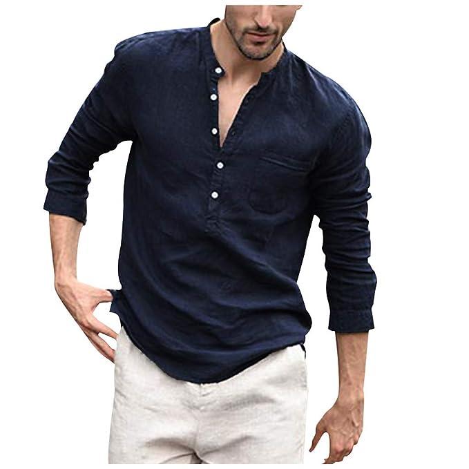 Amazon.com: Hattfart Henley - Camisa de manga larga para ...