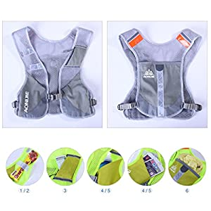 Triwonder Marathoner Race Hydration Vest Hydration Pack Backpack (Grey - with 2 Water Bottles)