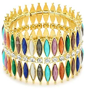 "Amrita Singh ""Hamptons"" Resin Stones and Crystal Gold Toned Multi-Colored Stretch Cuff Bracelet"