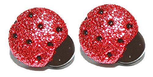 Black & Red Glitter Ladybug Clip On Earrings (S272clip) (Plastic Clip On Earrings)