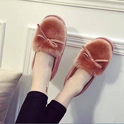 mhgao Ladies Casual interior cálido algodón Zapatillas de felpa zapatillas rosa