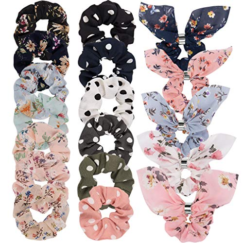 18 Pack Hair Scrunchies - TOBATOBA Large Women's Chiffon Flower Hair Scrunchies Hair Bow Chiffon Ponytail Holder,Including Bunny Ears and Vintage Styles