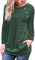 Hisweet Women's Casual Button-Down T-Shirt Crewneck Tops Long Sleeve Tunic Loose Blouses