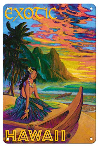 (Pacifica Island Art 8in x 12in Vintage Tin Sign - Exotic Hawaii - Hawaiian Hula Girl by Rick Sharp)