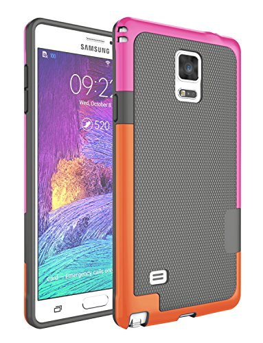 Note 4 Case, Jeylly [3 Color] Slim Hybrid Impact Rugged Soft TPU & Hard PC Bumper Shockproof Protective Anti-Slip Case Cover Shell for Samsung Galaxy Note 4 Verizon - Gray ()