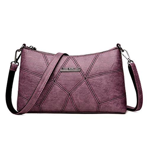 Main Mini Cuir Pu Vintage Satchel Zippered Femmes Lady à Purple Crossbody Sac Bag Multicolore Bandoulière Tote à Sac IwqPfIt