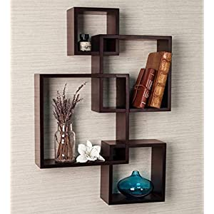 Furniture Cafe Wooden Intersecting Wall Mounted Shelf/Floating Shelves/Racks for Home Decor Living Room | Hall | Drawing…