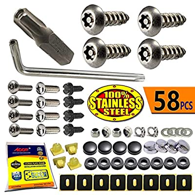 License Plate Screws Anti Theft - Stainless Steel Security Screws License Plate Bolts Fasteners,Tamper Proof Protection for License Plates on Cars Trucks, Black Chrome Caps -58PC Ultimate Set: Automotive