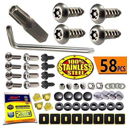 (License Plate Screws Anti Theft - Stainless Steel Security Screws License Plate Bolts Fasteners,Tamper Proof Protection for License Plates on Cars Trucks, Black Chrome Caps -58PC Ultimate Set)