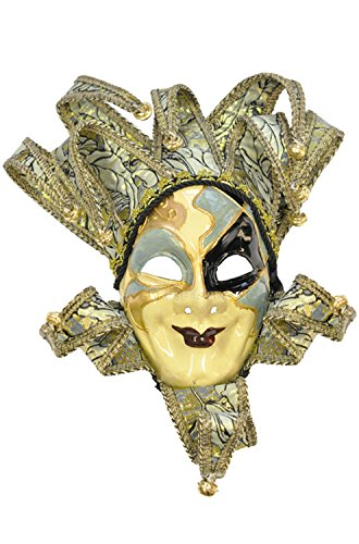 Pure Seasons Royal Court Jester Mask (Blue)-Standard (Carnavale Costumes)