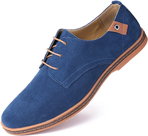 Men Blue Suede Shoes - Marino Suede Oxford Dress Shoes for Men - Business Casual Shoes (Blue, 9.5)