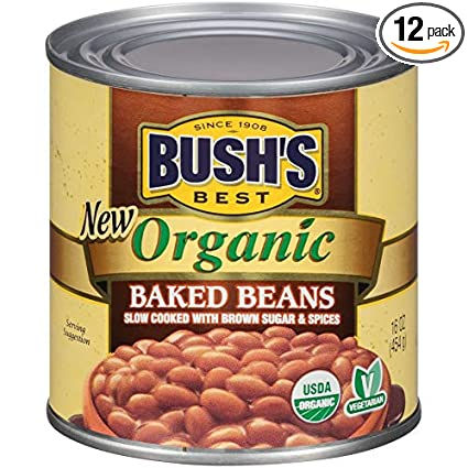 Amazon Com Bush S Best Organic Baked Beans 16 Ounce Can Pack Of 12 Canned Beans Baked Beans Canned Usda Certified Organic Source Of Plant Based Protein And Fiber Low Fat Gluten Free