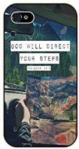 God will direct your steps - Road map - Proverbs 16:9 - Bible verse IPHONE 5C black plastic case / Christian Verses