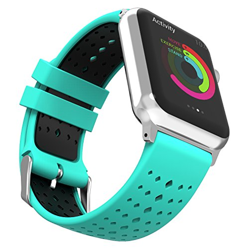 - MoKo Compatible Band Replacement for Apple Watch 38mm 40mm Serier 4/3/2/1, Soft Silicone Rhombus Hole Double Color Replacement Strap and Connector - Mint Green + Black (Not fit 42mm 44mm Versions)