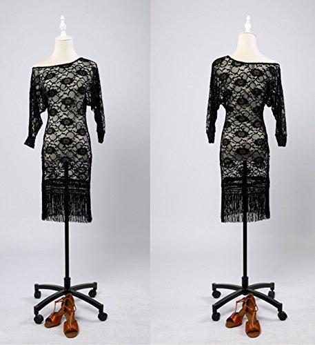 il black SCGGINTTANZ trasparenti Moderna professionale design ballo nappe da semi Danza vestito lace G3018 FBA di swing latino WSrSqxna0